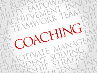Coaching word cloud, business concept