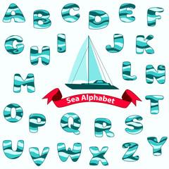 Sea Alphabet. Vector illustration