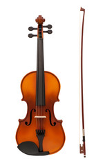 violin with fiddlestick isolated on white background