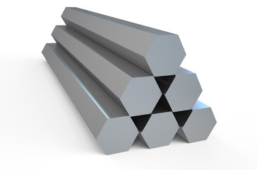 Shiny hexagon metal bars