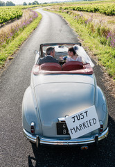 A newlywed couple is driving a retro car, top view