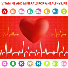 Cardiogram, heart and vitamins.