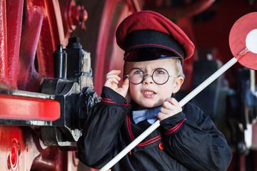 Upset Little Railroad Conductor
