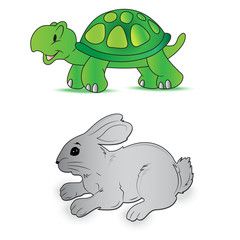 Rabbit, turtle, speed, vector, illustration