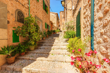 Street in old Fornalutx mountain village, Majorca island