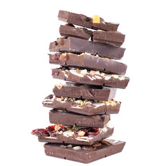 stack of chocolate on a white background