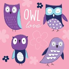cute owls vector illustration
