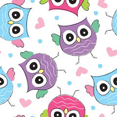 colorful owl pattern vector illustration