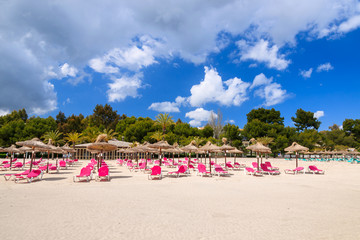 Fototapete - Umbrellas with chairs on sandy Alcudia beach, Majorca island