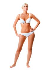 woman wearing white underwear portrait