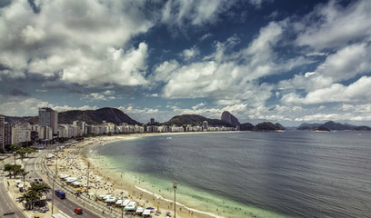 Aerial view of Copacabana Beach with dramatic sky in Rio de Jane