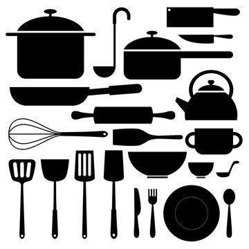 kitchenware icon silhouettes