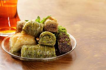 Turkish arabic dessert - baklava with honey and walnut
