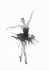 Dancing Ballerina. Watercolor illustration