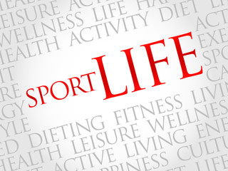 Sport Life word cloud, health concept