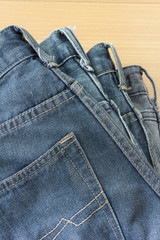 blue jeans on table