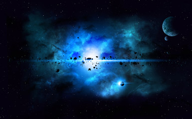 Blue Deep Space Imaginary Nebula