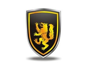 wolf gold shield emblem logo vector