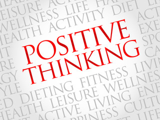 Positive thinking word cloud, health concept