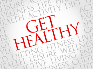 Get Healthy word cloud, health concept