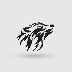 Artistic stylized wolf icon. Creative silhouette wild animal.