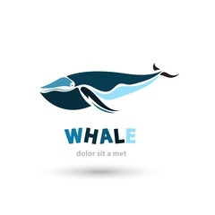 Stylized artistic whale logo icon. Creative colorful silhouette.