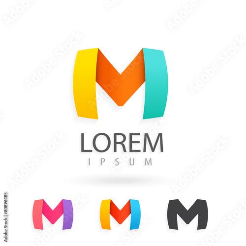 colorful logo design set template letter m