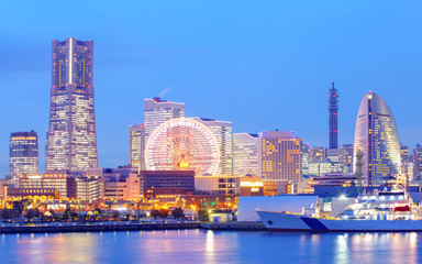 Yokohama skyline at minato mirai area at night view..