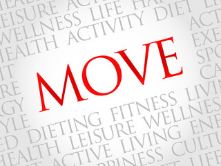 MOVE word cloud, fitness, sport, health concept