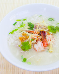 Breakfast rice Soup With Shrimp and vegetable