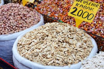 Pumpkin seeds and nuts at spicy bazaar in Turkey