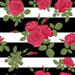 Seamless flower red roses pattern with horizontal stripes