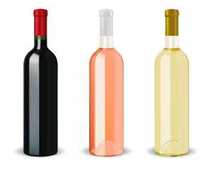 Bottles of wine - red, rose, white