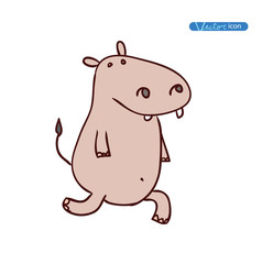 Hippo Cartoon animal, vector illustration.