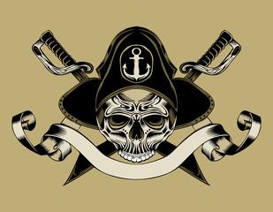 Illustration of pirate skull.