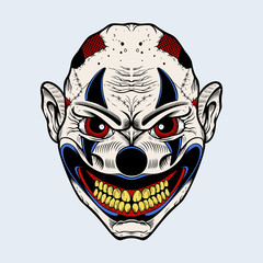Illustration of evil clown with red eyes.