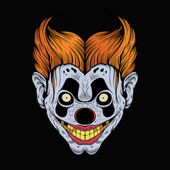 Illustration of scary red clown.
