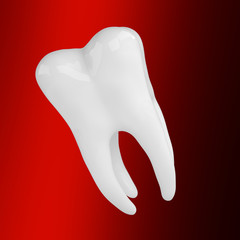 Snow-white tooth on black red background 3d