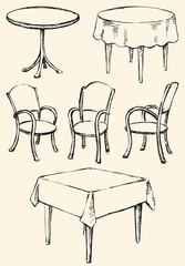 Different Сhairs and tables. Vector sketch
