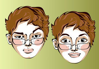 Illustration of different facial expressions of women in glasses