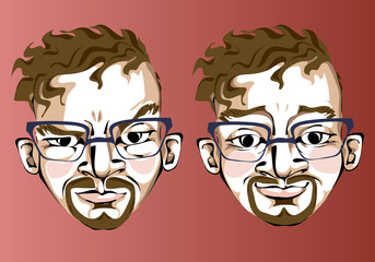 Illustration of different facial expressions of a man in square