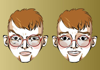 Illustration of different facial expressions of a man with red