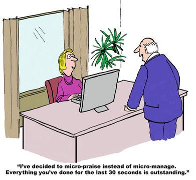 Cartoon of business man giving micro-praise.