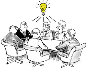 Cartoon of business people with a big new idea.