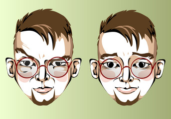 Illustration of different facial expressions of a man with brown
