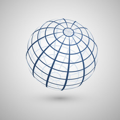 Wire frame planet sphere icon. Vector illustration