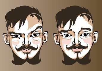 Illustration of different facial expressions a man
