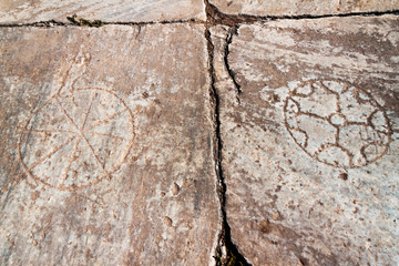 Ancient stone background symbols