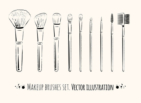 Makeup brushes kit.