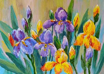 Obraz Oil Painting - bouquet of flowers irises - fototapety do salonu